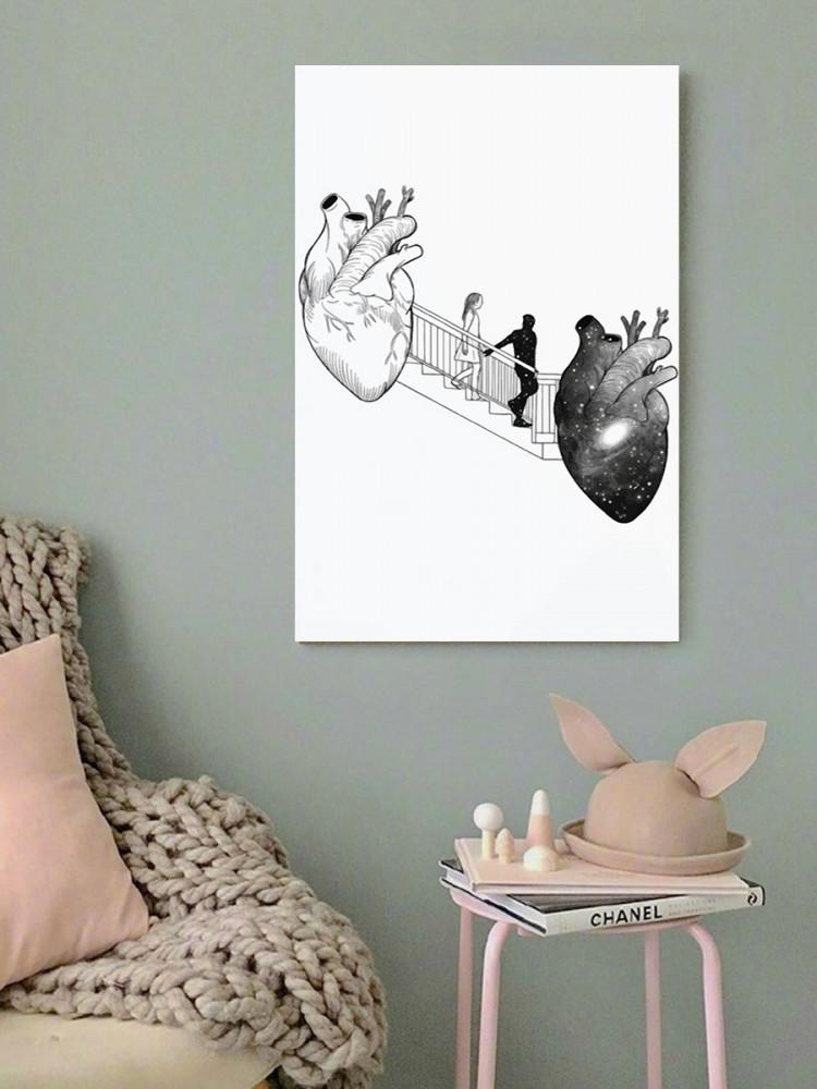 لوحة العشاق من القلب الى القلب خشب ام دي اف مقاس 40x60 سنتيمتر