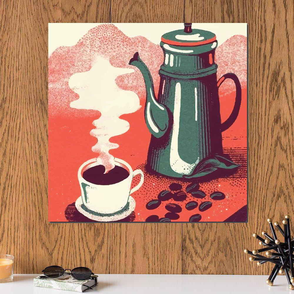 لوحة عشاق القهوة خشب ام دي اف مقاس 30x30 سنتيمتر