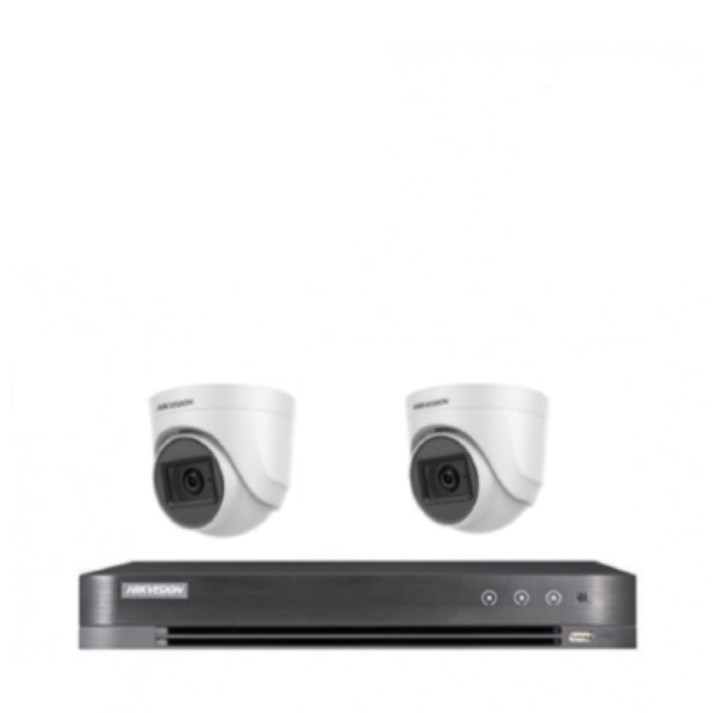 2 كاميرات 5 ميجـا تدعم الصوت - داخلية او خارجية مع جهاز تسجيل 4 قنوات