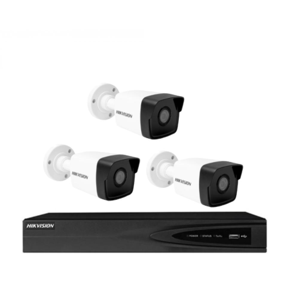 3 كاميرات شبكية 5 ميجـا IP  - داخلية او خارجية مع جهاز تسجيل 4 قنوات