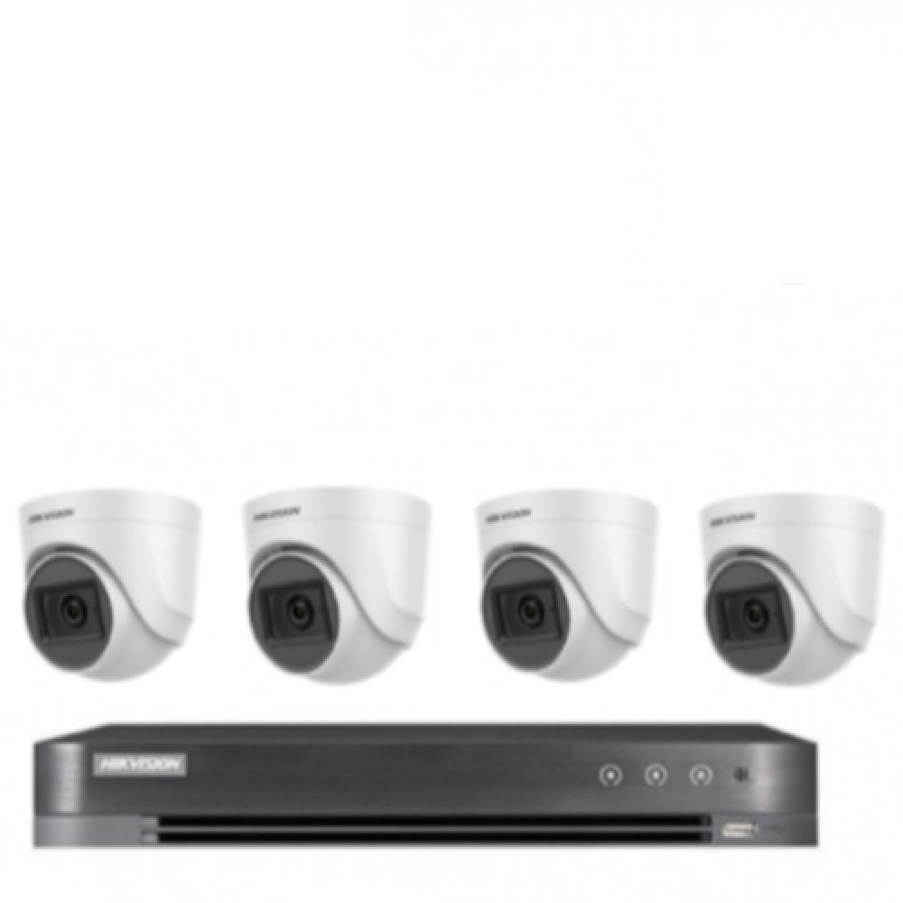4 كاميرات 5 ميجـا  تدعم الصوت - داخلية او خارجية مع جهاز تسجيل 4 قنوات