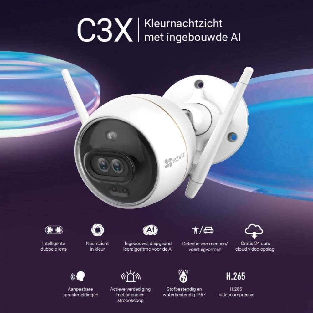 ايزفيز كاميرا مراقبة C3X لاسلكية ذكية مع تقنية الذكاء الاصطناعي