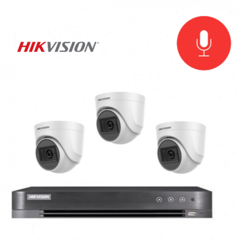 3 كاميرات 5 ميجـا تدعم الصوت - داخلية او خارجية مع جهاز تسجيل 4 قنوات