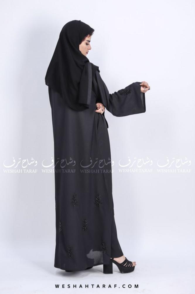 عباية قماش خيش بشك أسود بالاكمام و الاسفل