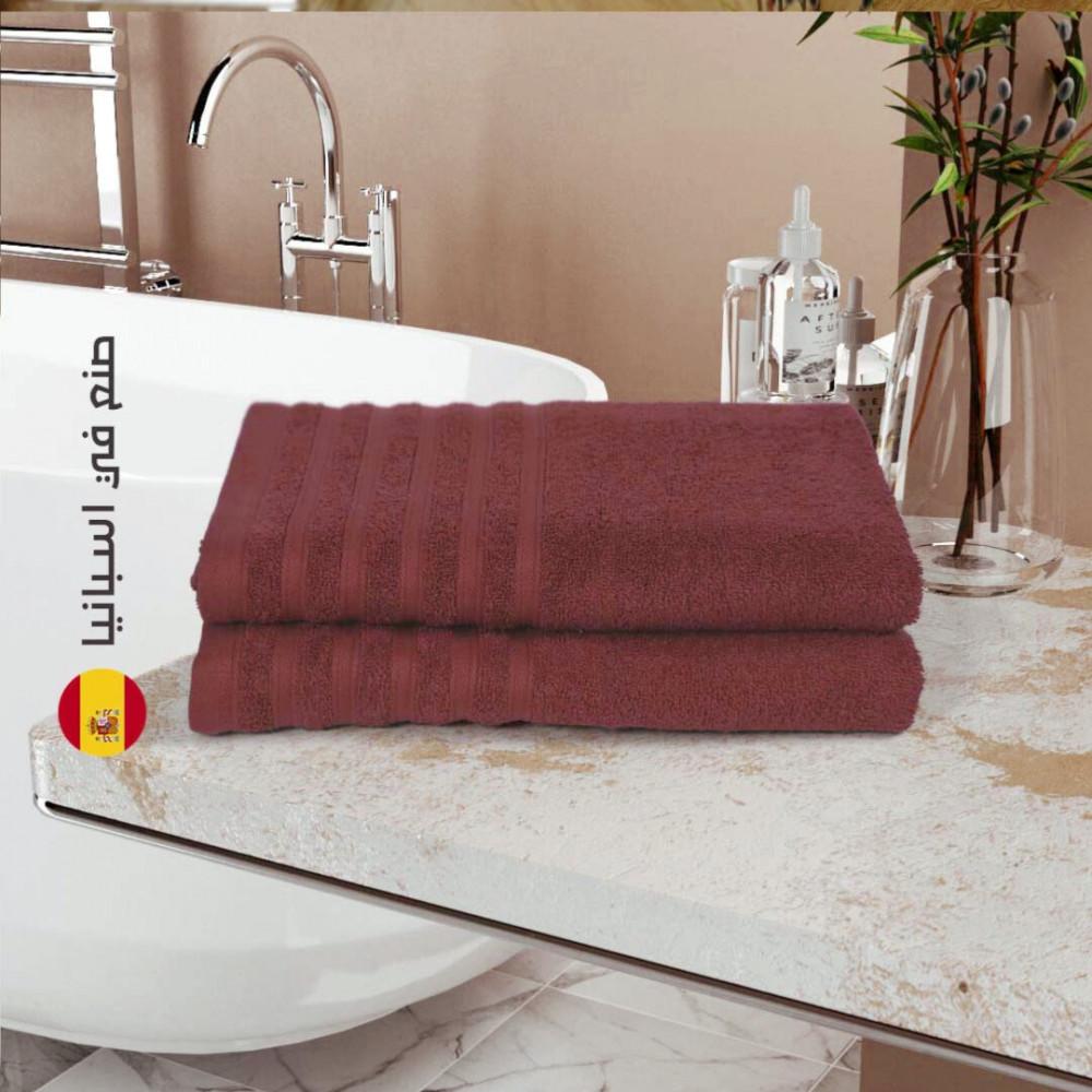 منشفة قطن اسبانية - عنابي - مفارش ميلين