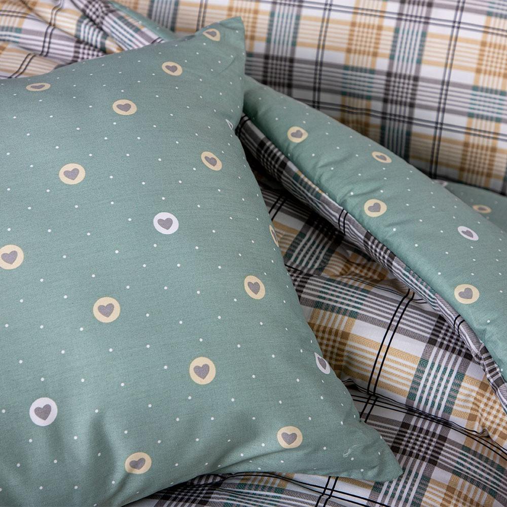 مفرش قطن صيفي مزدوج 8 قـطع - ماريناس- باللون الاصفر مقلم والأخضر الرم