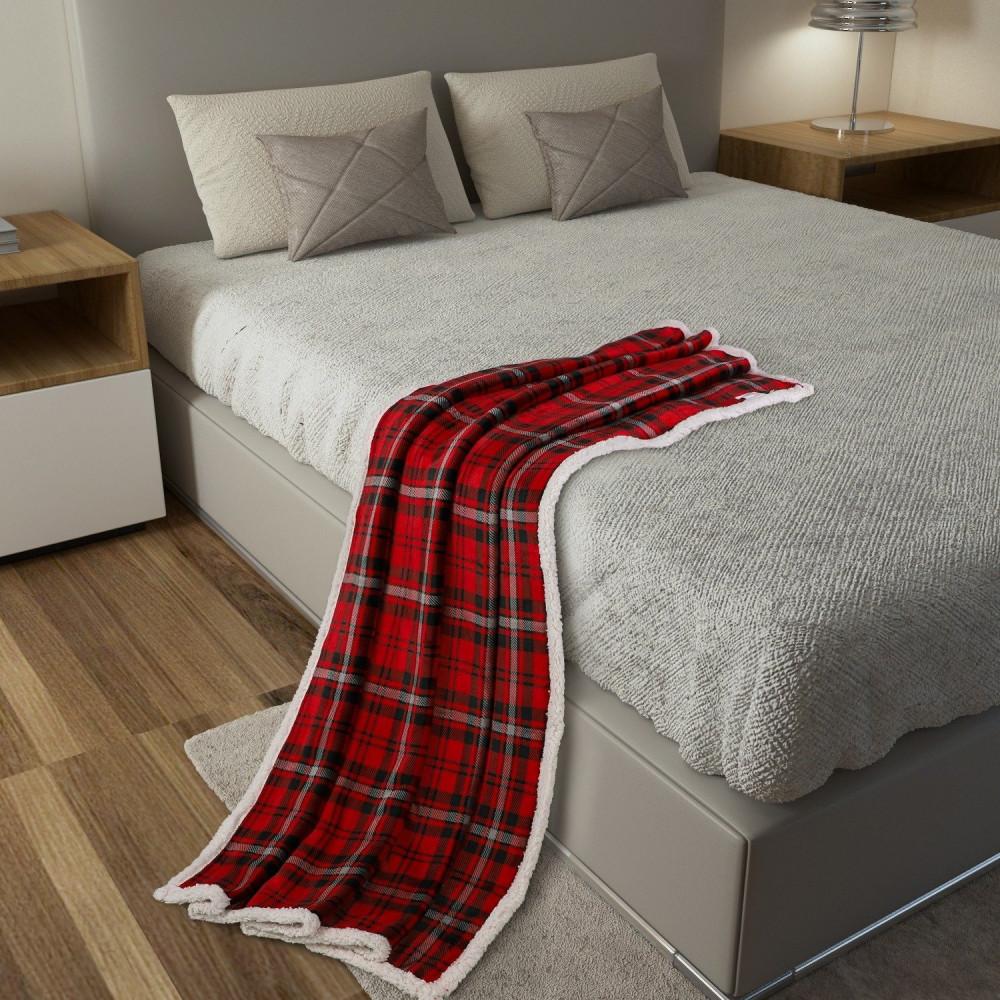 شراء بطانية كنب مخمل وفرو - أبريال - احمر واسود - مفارش ميلين