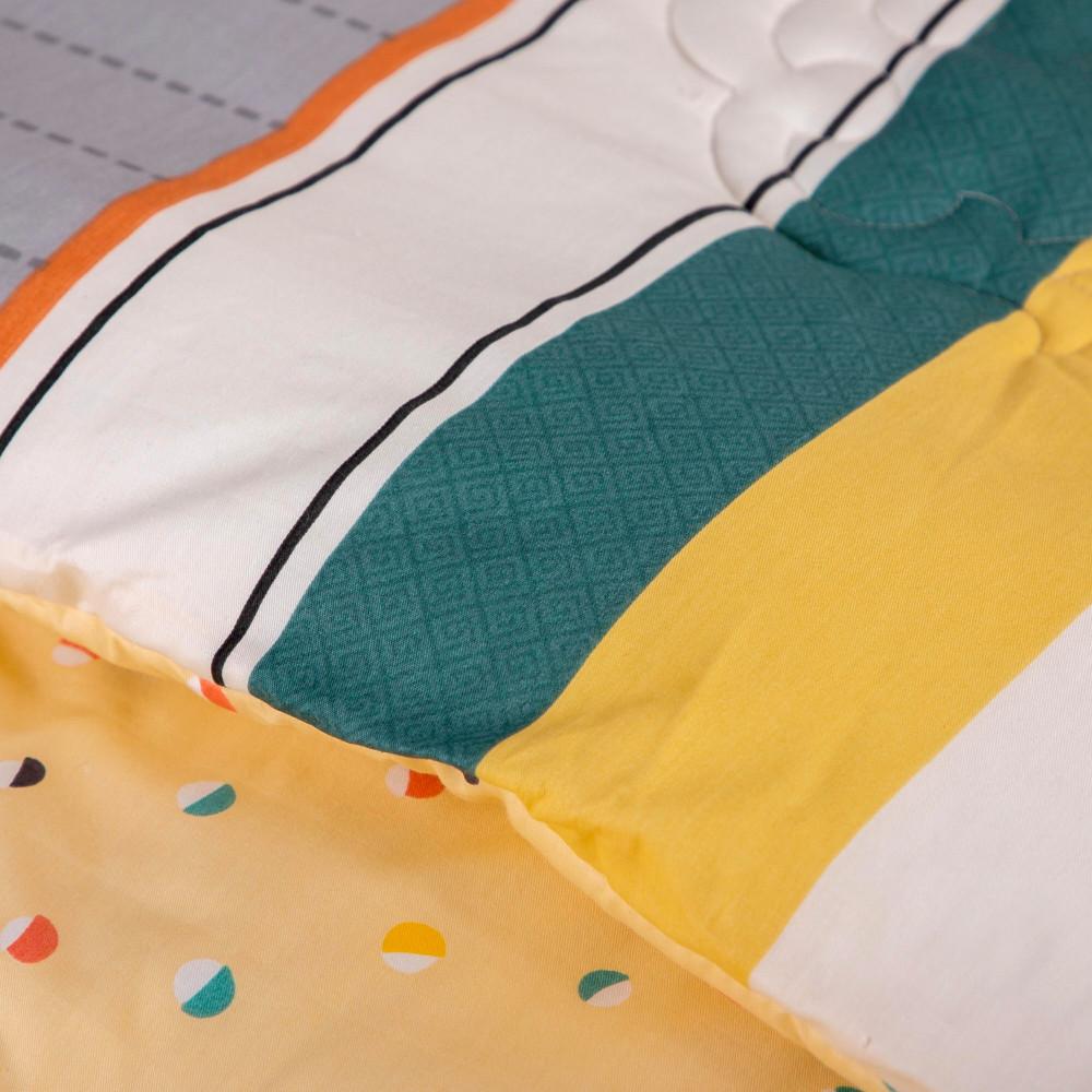 احسن مفرش قطن  صيفي 4 قطع مفرد ونص -لاسينا - اخضر واصفر ورمادي - ميلين
