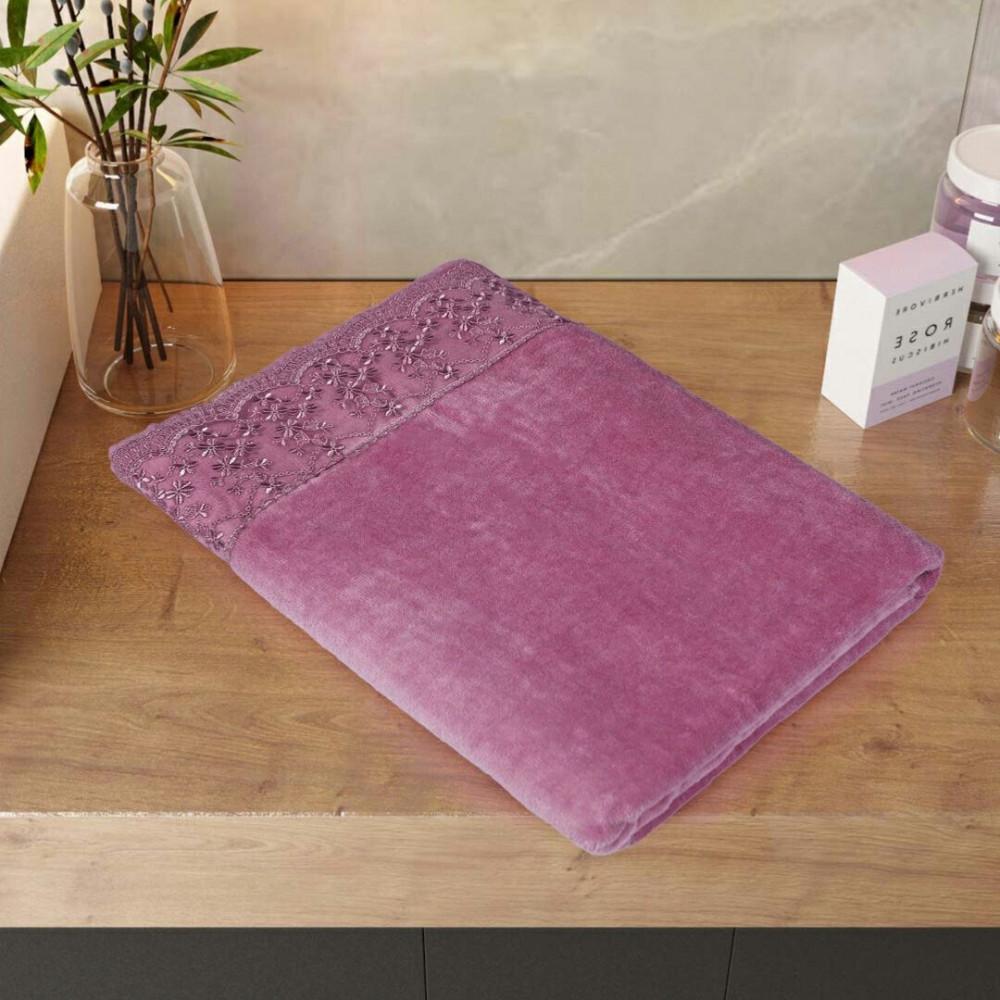 شراء منشفة ماريا قطيفة بالدانتيل مقاس كبير - لون زهري غامق - مفارش ميل