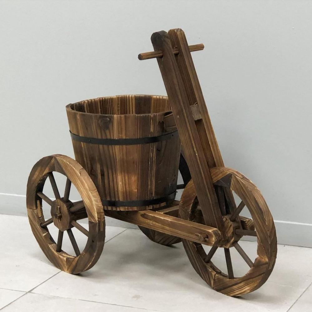دراجة حديقة خشب بني نباتات زينه ومراكن ديكورات المنزل زرع صناعي حديقة
