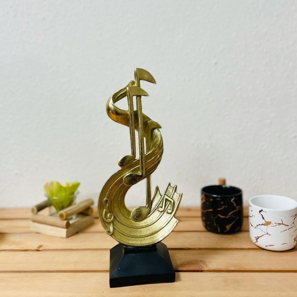 ريشة بشارة الموسيقى ذهبية قاعدة سيراميك تحف وهدايا ديكورات المنزل
