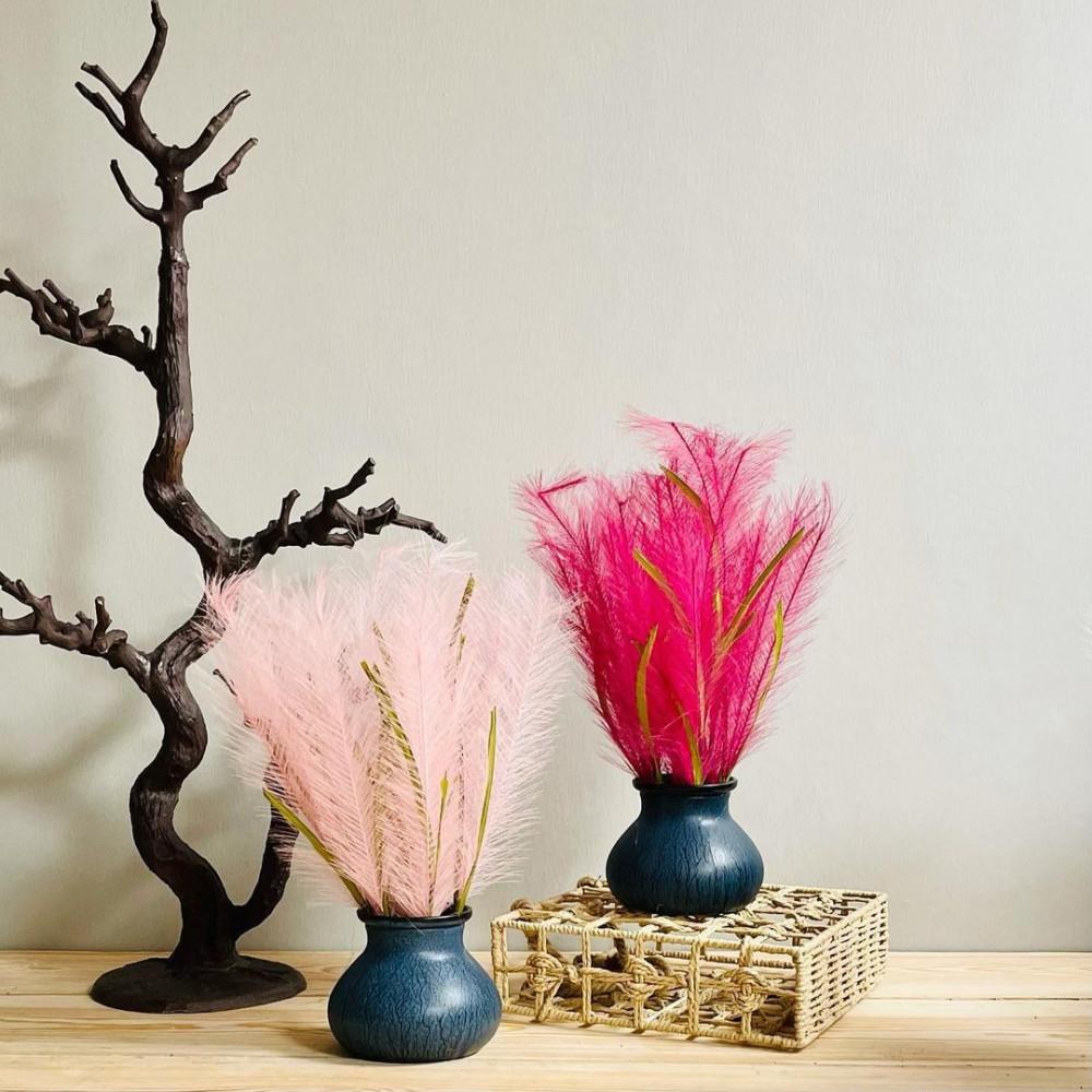 مركن سيراميك بترولي ورد زهري نباتات زينه ومراكن ديكورات المنزل