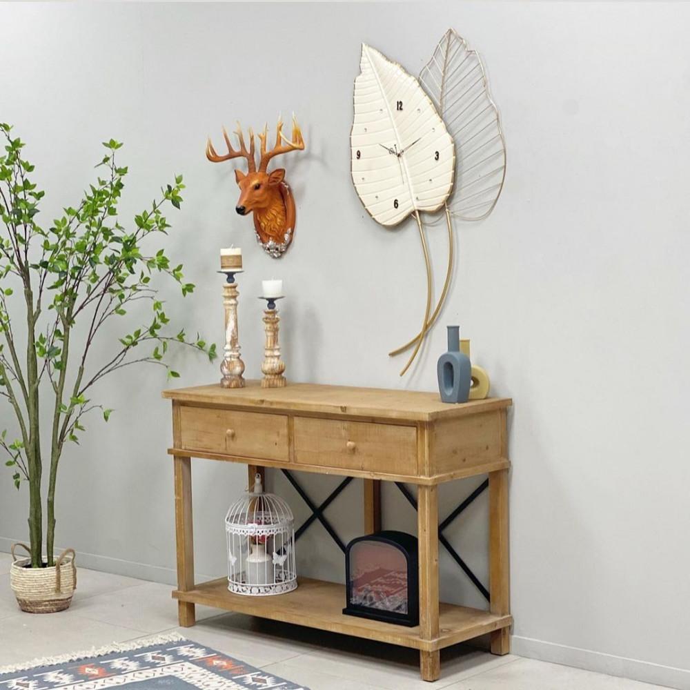 ساعة جدارية حديد ورق شجر ساعات ديكورات المنزل ديكور مكتبي حائط
