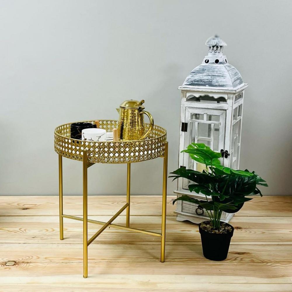 طاولة حديد ذهبي تبسي كراسي وطاولات ديكورات المنزل طاولة قابلة للطي