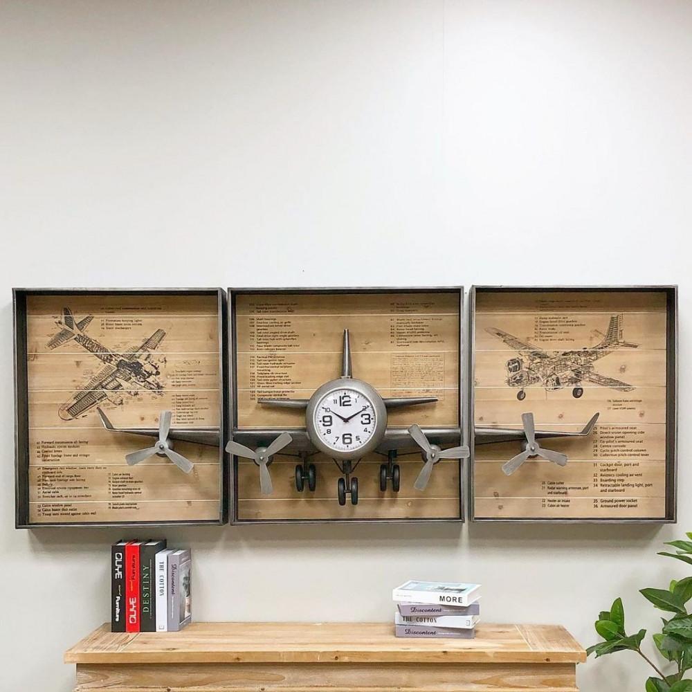 لوحة جدارية بساعة شكل طائرة ساعات لوحات جدارية ديكورات المنزل جدار