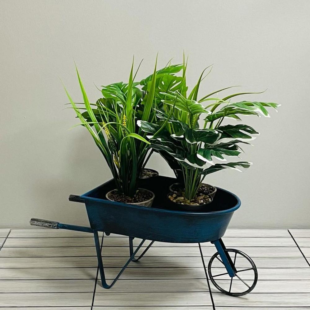مركن عربة حديد انتيك نباتات زينه ومراكن ديكورات المنزل زرع صناعي
