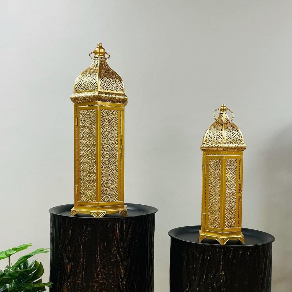 فانوس حديد ذهبي مفرغ انتيك فوانيس ديكورات رمضان ديكور انتيكات
