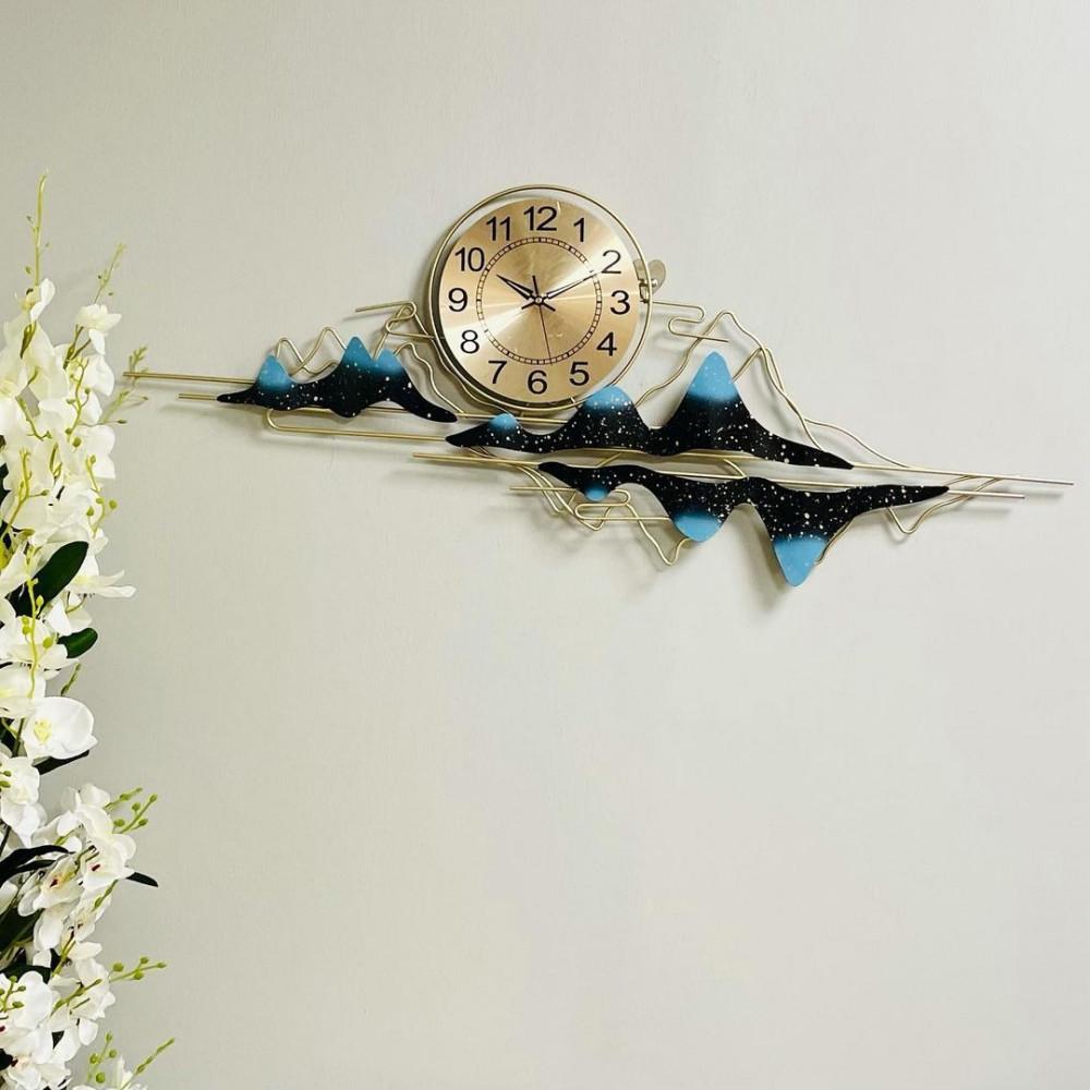 لوحة جدارية حديد ذهبية امواج وساعة لوحات جدارية ساعات ديكورات المنزل