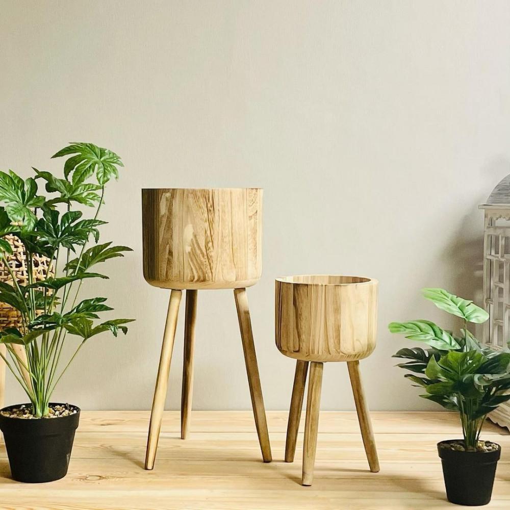 طقم مراكن خشب طبيعي نباتات زينه ومراكن ديكورات المنزل زرع صناعي