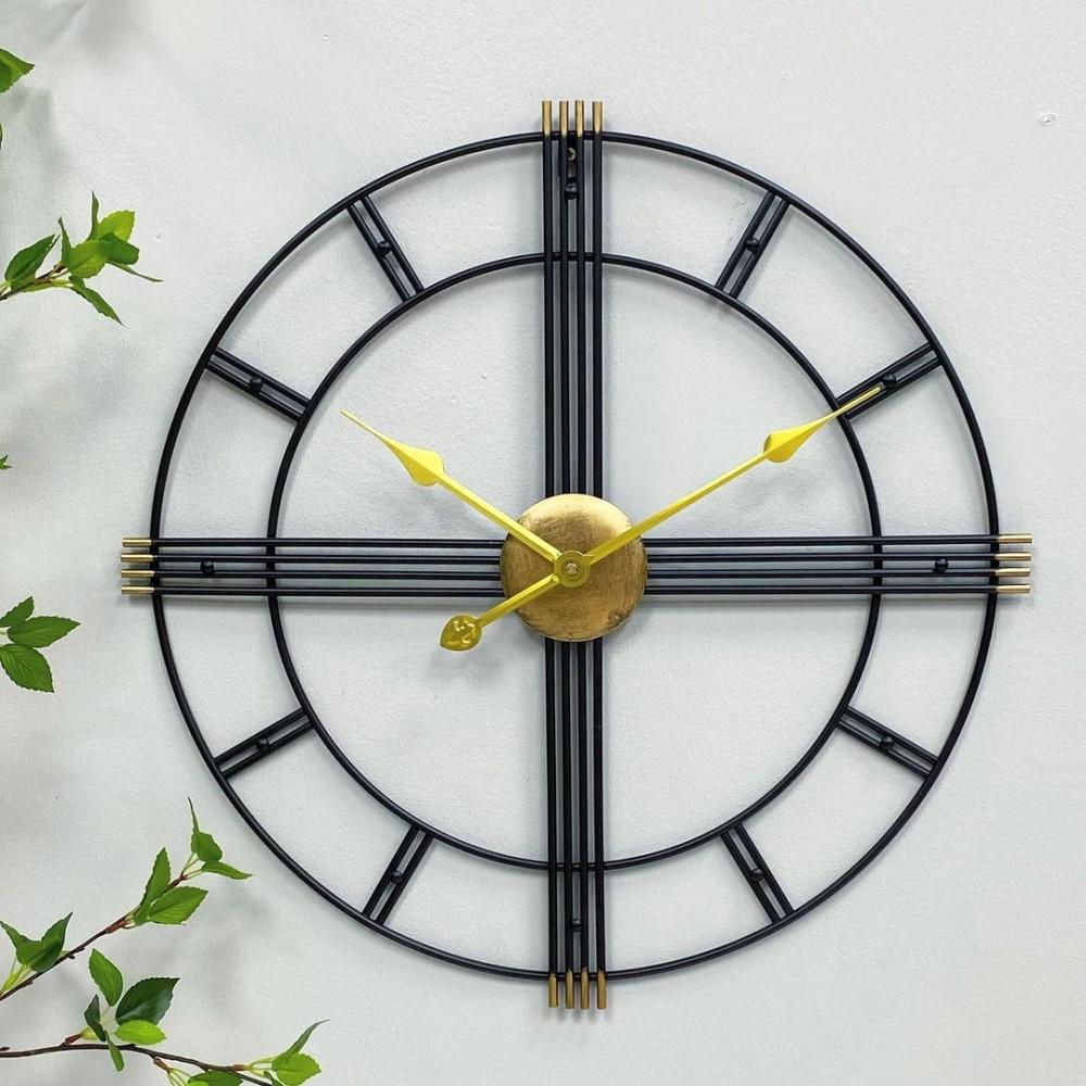 ساعة جدارية حديد ذهبي ساعات ديكورات المنزل ديكور مكتبي حائط ساعة حديد