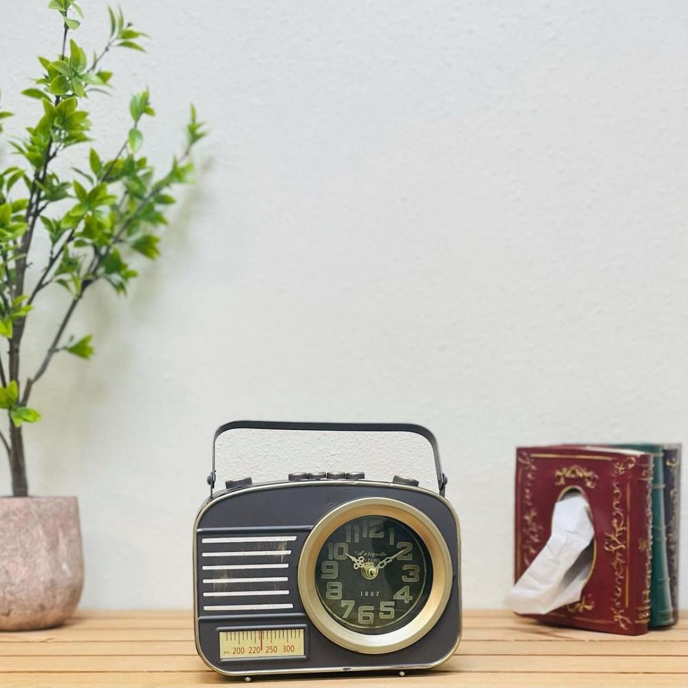 ساعة راديو حديد انتيك ساعات عقارب ذهبية ساعة انتيك ديكورات المنزل
