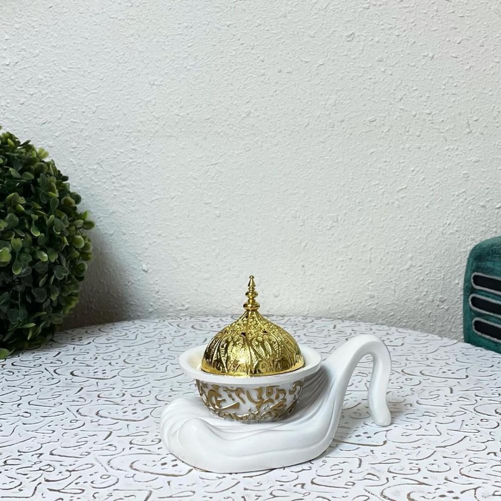 مبخرة سيراميك ابيض وذهبي مباخر ومداخن بخور ديكورات المنزل رمضان