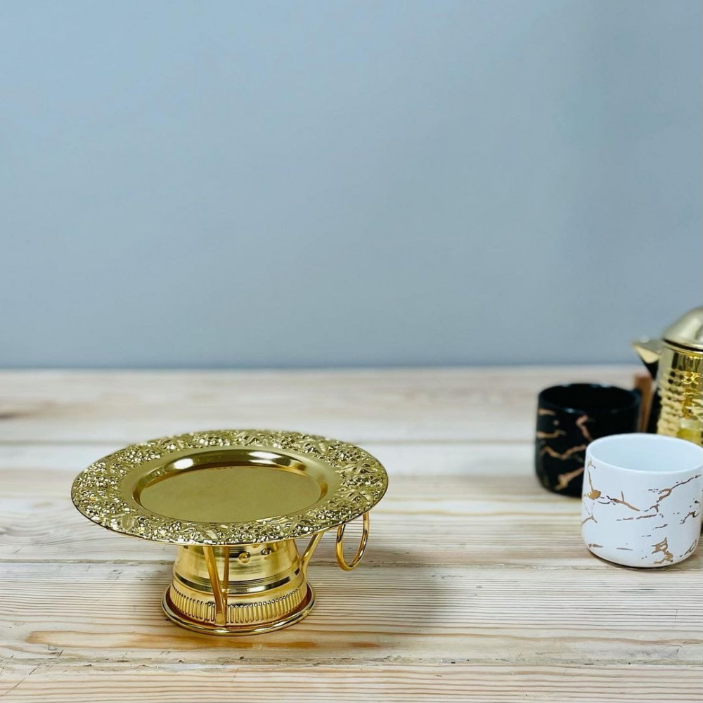 صحن حلا معدن ذهبي مستلزمات مطبخ وتقديم رمضان ضيافه وتقديم مناسبات