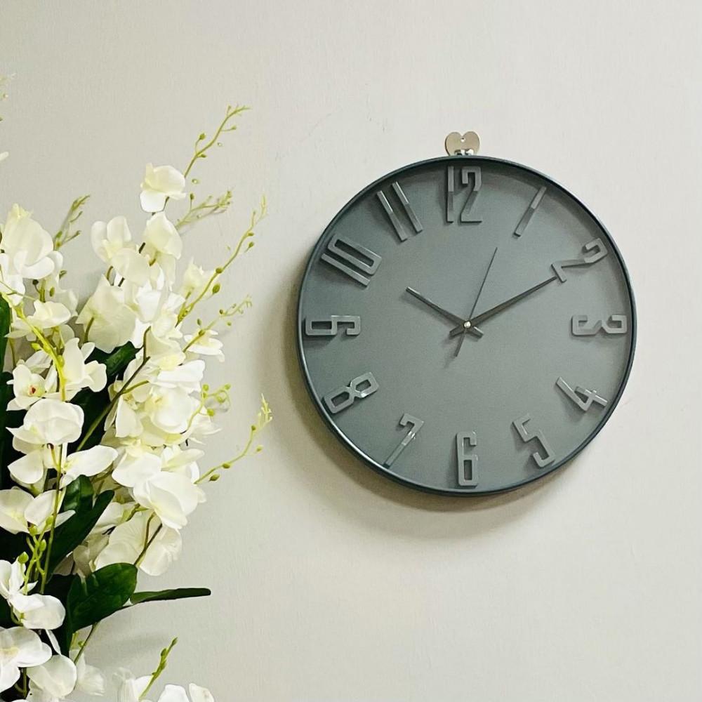 ساعة بلاستيك وزجاج تعمل بالبطارية ساعات ديكورات المنزل ساعه رمادي