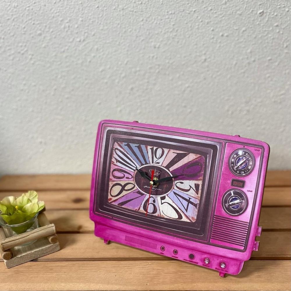 ساعة خشبية شكل تلفزيون فوشيا تعمل بالبطارية ساعات ديكورات المنزل