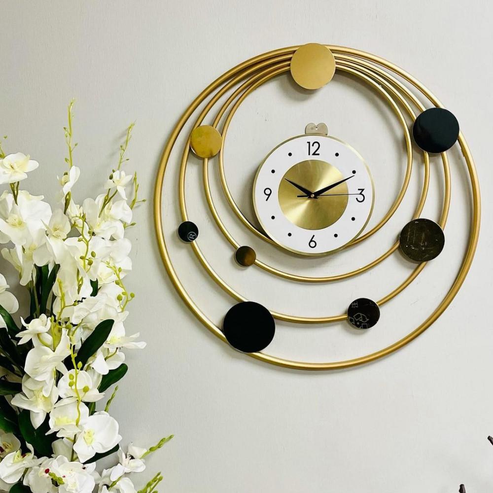 لوحة جدارية حديد ذهبية حلقات ودوائر بساعة لوحات جدارية ساعات بطارية