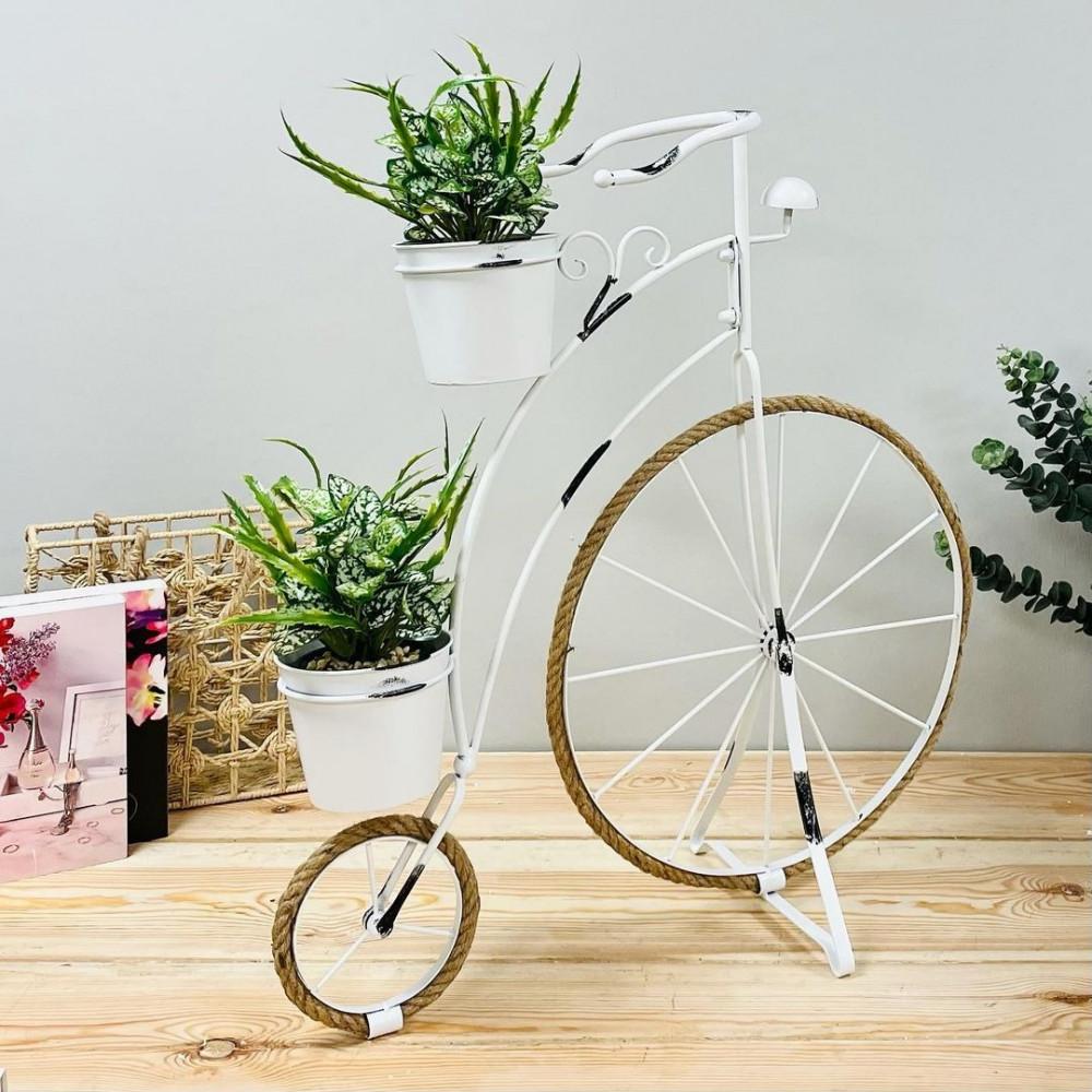مركن دراجة حديد ابيض انتيك نباتات زينه ومراكن ديكورات المنزل زرع صناعي