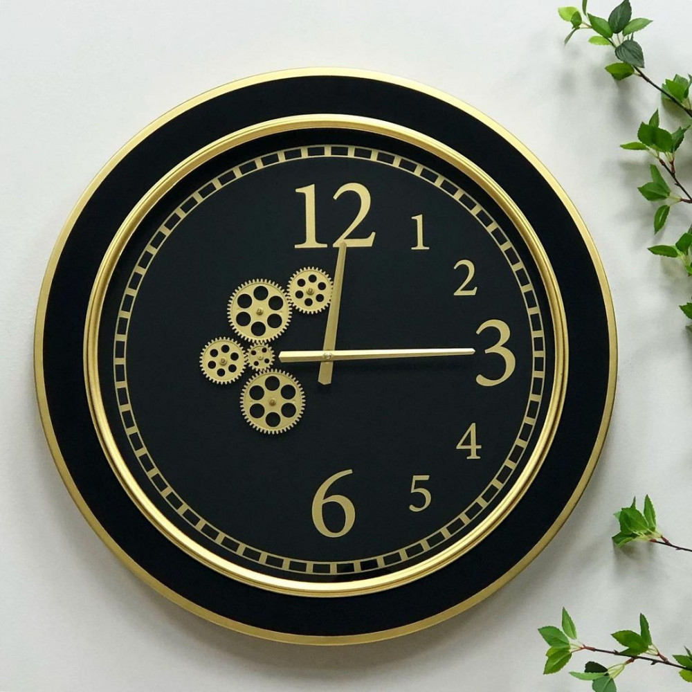 ساعة جدارية حديد ذهبي ساعات ديكورات المنزل ديكور مكتبي حائط