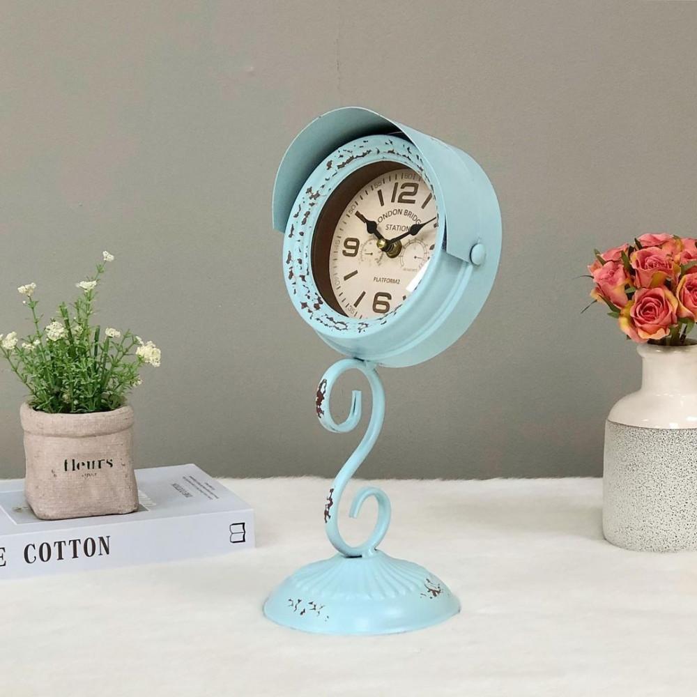 ساعة مكتب شكل إشارة مرور زرقاء ساعات ديكورات المنزل ديكور مكتبي