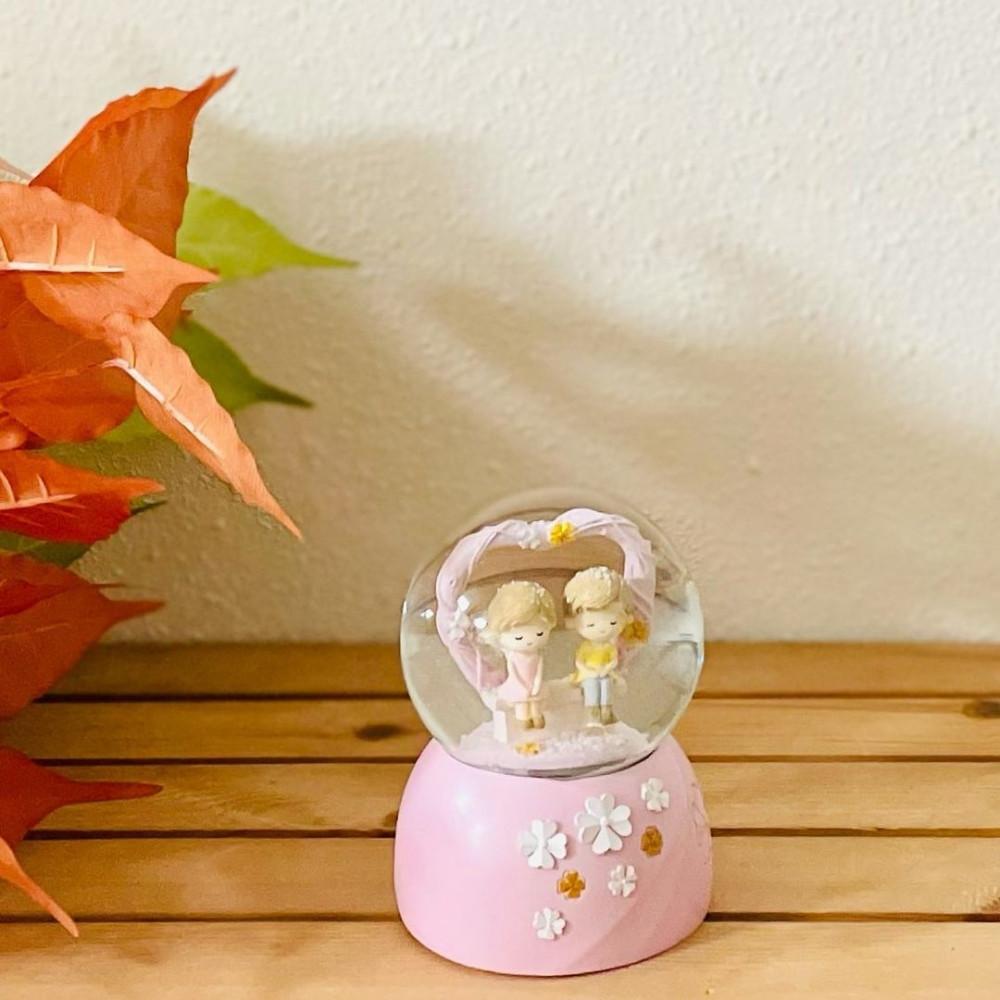 بلورة زجاج مضيئة زهري مع موسيقى عالبطارية تحف وهدايا ديكورات المنزل
