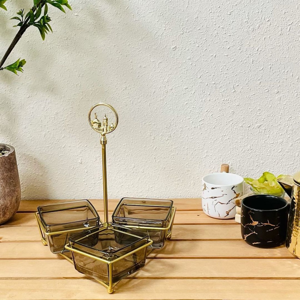 تمرية ذهبية زجاج تحف وهدايا ديكورات المنزل رمضان ضيافه وتقديم