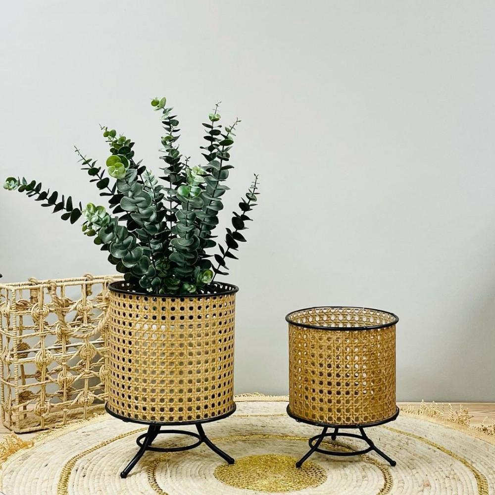 طقم مراكن حديد بيج مفرغ نباتات زينه ومراكن ديكورات المنزل زرع صناعي