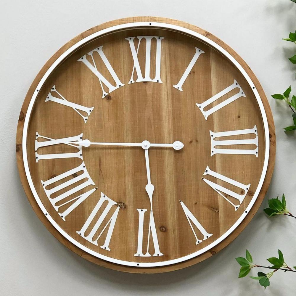 ساعة جدارية حديد وخشب ساعات جدار ديكورات المنزل ديكور مكتبي