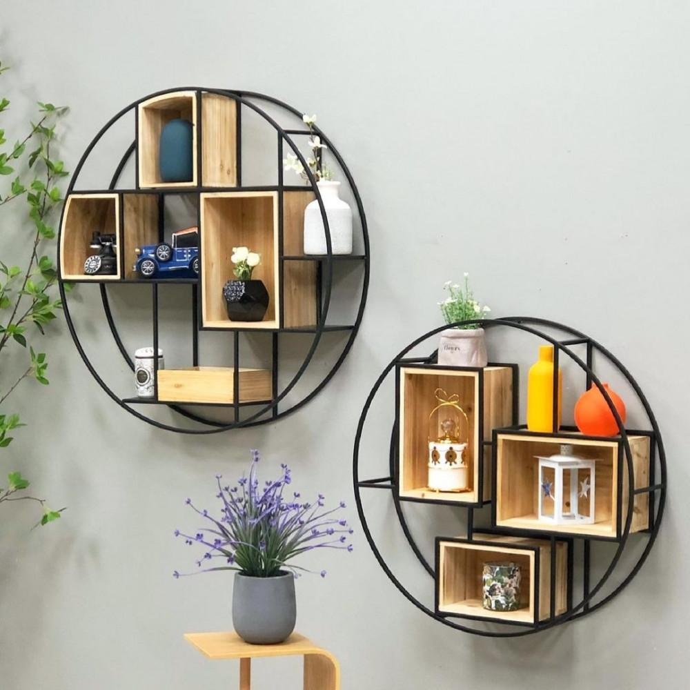 رف جداري حديد وخشب رفوف جدارية ديكورات المنزل حائط علاقة جدارية