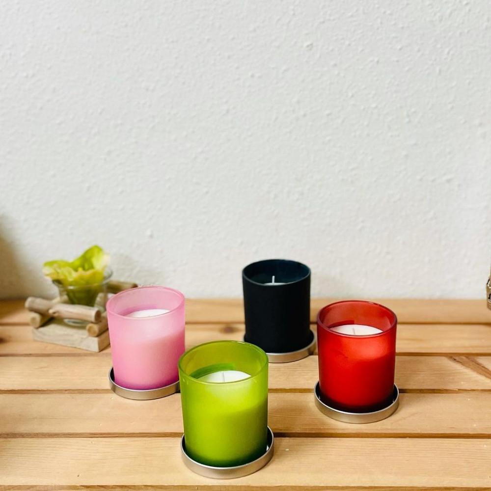 شمع معطر بكاس زهري زجاج مع غطاء حديد شمع وشمعدان ديكورات المنزل