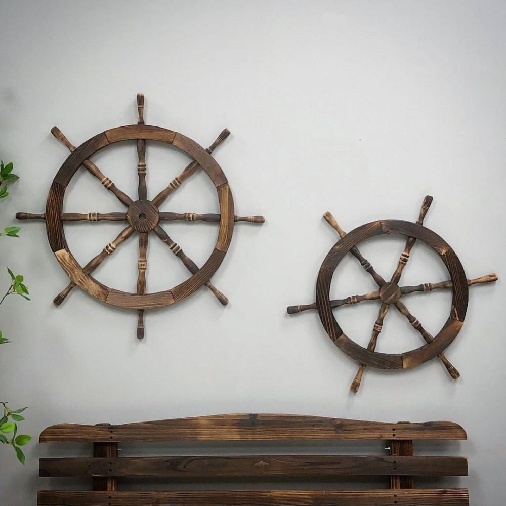 ديكور دفة قبطان خشب تعليقات جدارية ديكورات المنزل حائط ديكور خشبي