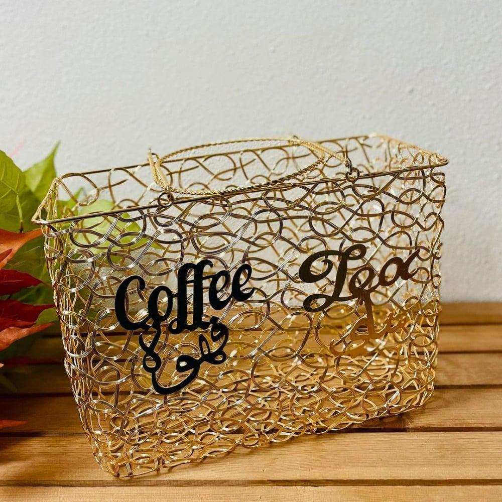 سلة حديد ذهبي لترامس الشاي والقهوة مستلزمات مطبخ وتقديم ضيافه كوفي