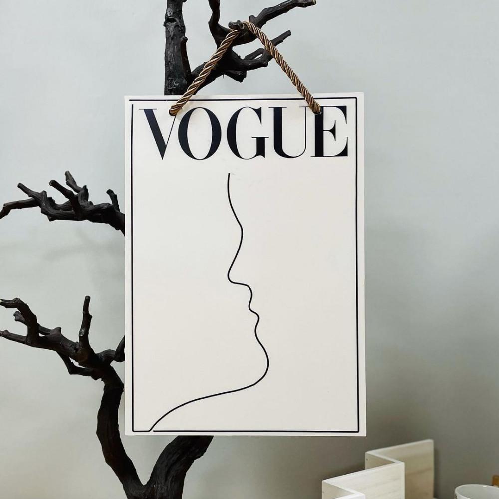لوحة جدارية خشب بحبل شعار VOGUE شكل وجه لوحات جدارية ديكورات المنزل