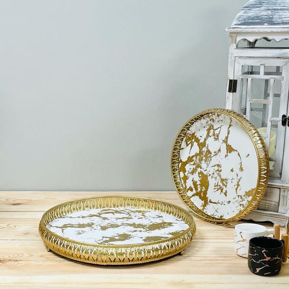 طقم صواني تقديم حديد نقشة رخام مستلزمات مطبخ وتقديم رمضان ضيافه وتقديم