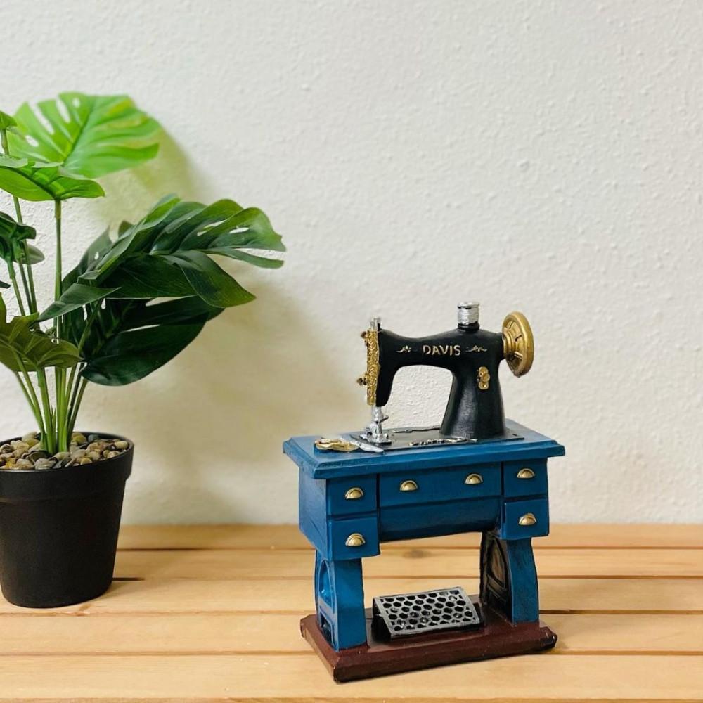 ماكينة خياطة سيراميك اسود وازرق انتيك تحف وهدايا انتيكات ديكور المنزل