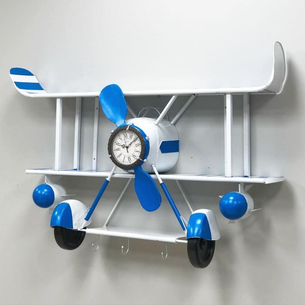 رف جداري حديد شكل طيارة بساعة تعمل بالبطارية رفوف جدارية ساعات جدار