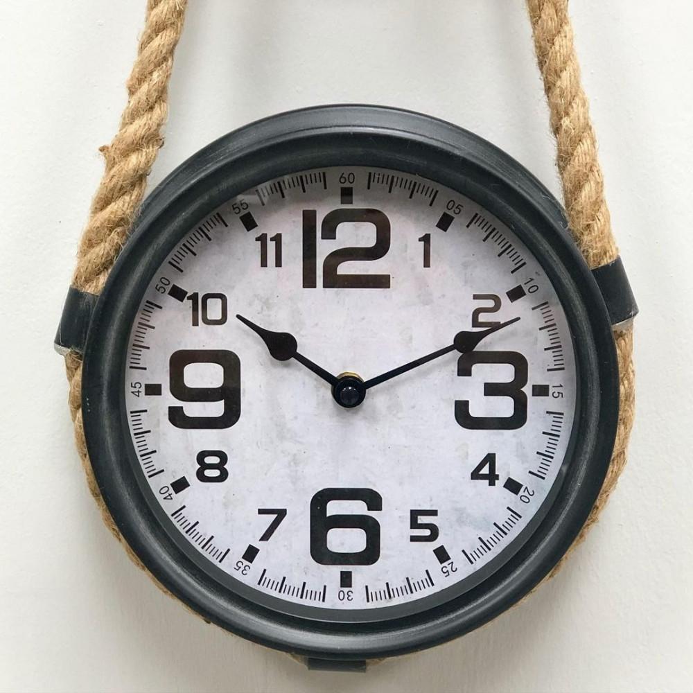 ساعة حديد بكرة شد بحبل ساعات ديكورات المنزل جدار ديكور مكتبي حائط