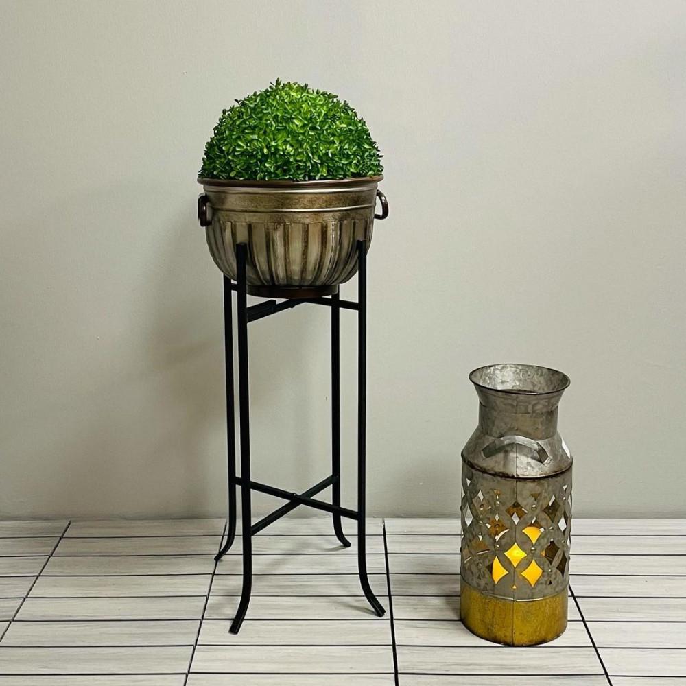 مركن حديد برونزي بارجل حديد نباتات زينه ومراكن مركن برونزي بارجل سوداء