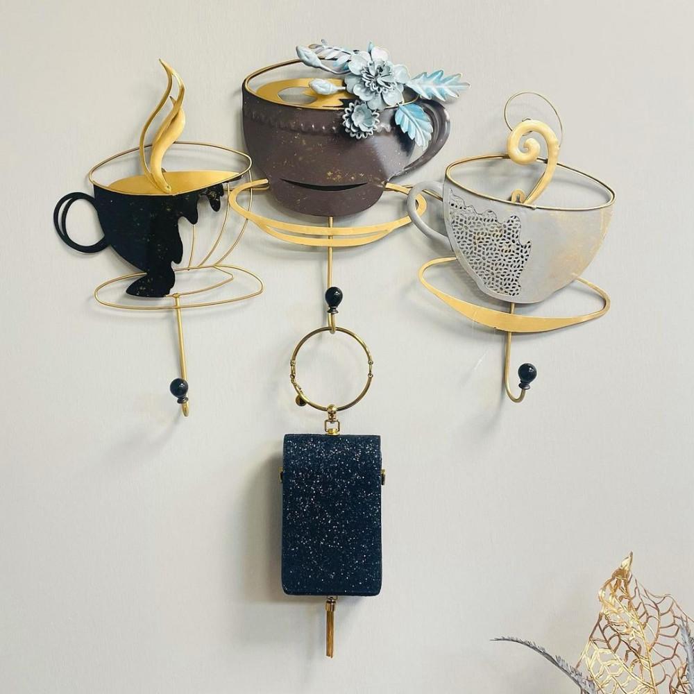 علاقة ملابس حديد فناجين قهوة تعليقات جدارية ديكورات المنزل جدار ملابس