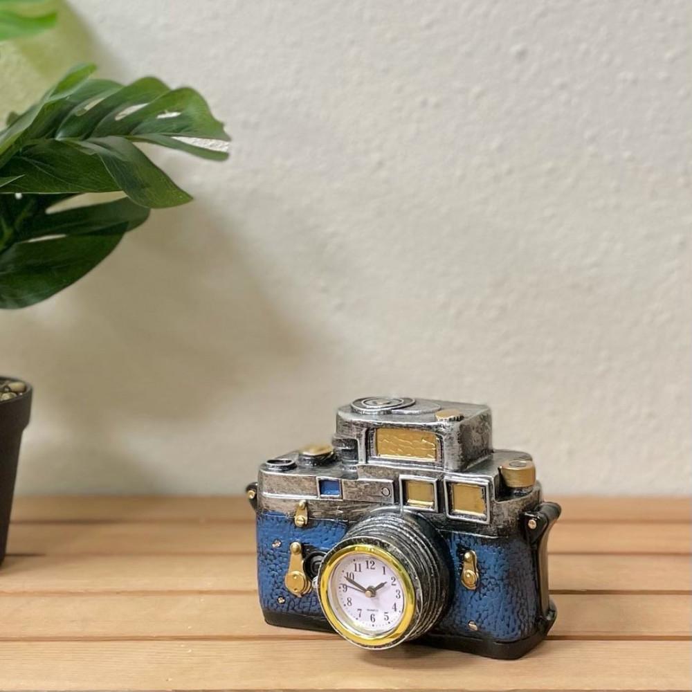 ساعة وكاميرا سيراميك ازرق وفضي انتيك تحف وهدايا انتيكات ديكور المنزل