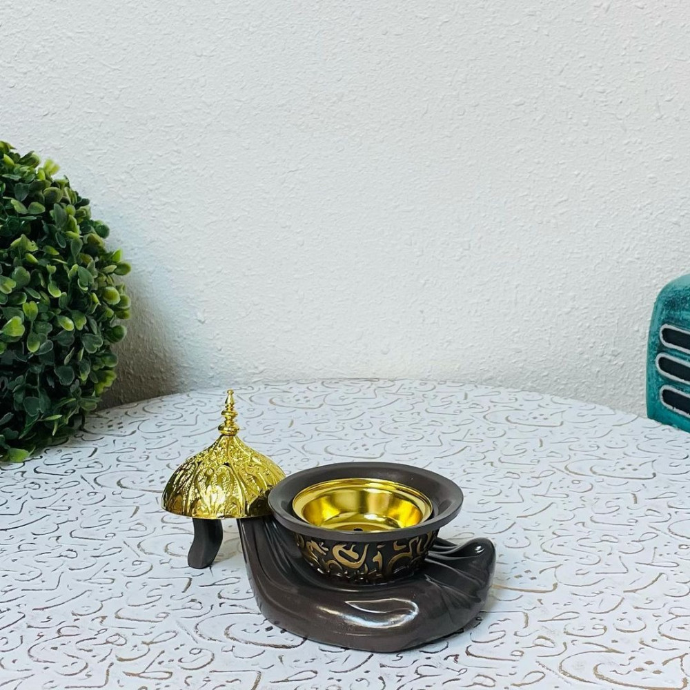 مبخرة سيراميك بني وذهبي مباخر ومداخن بخور ديكورات المنزل رمضان